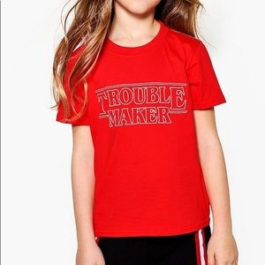 """Other - Red """"Trouble Maker"""" Stranger Things Tee Sz 5-10YRs"""